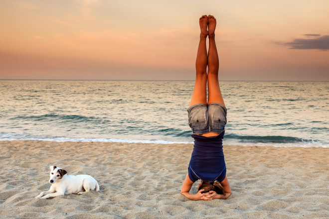 Yoga Headstand on the beach with his dog