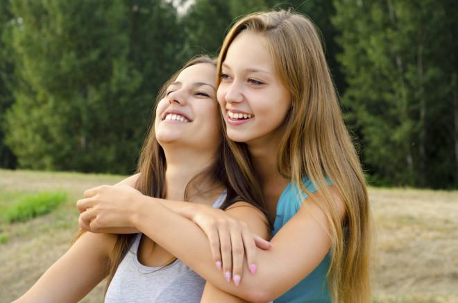 Two beautiful girls having fun outdoor