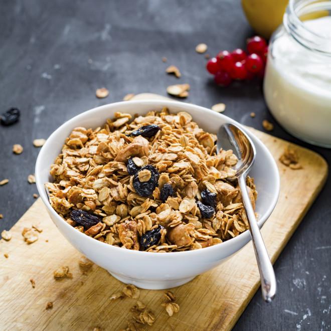 Granola, yogurt and fruits
