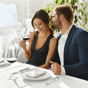 Couple In Love Having Romantic Dinner. Valentine's Day. Romance,