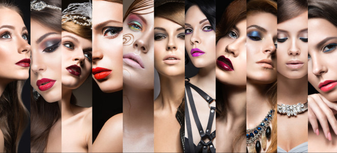 Collection of evening makeup. Beautiful girls. Beauty face