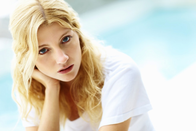 Closeup of a beauty woman with copyspace