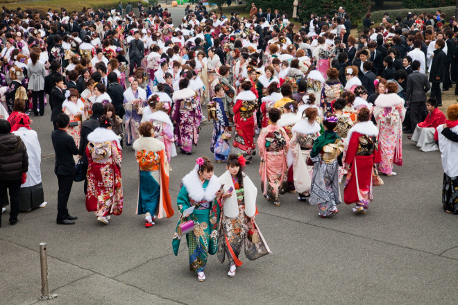 Young Japanese women wearing kimono on Coming of Age Day