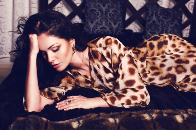 beautiful woman in leopard print dress