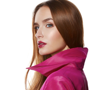 Beauty sexy woman makeup lips glam pink cloak