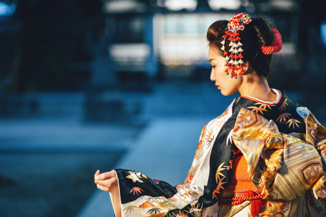 Portrait of young woman with kimono in Japan