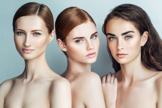Three beautiful girls with a natural make-up
