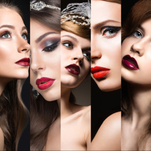 Collection of evening makeup. Beautiful girls. Beauty face