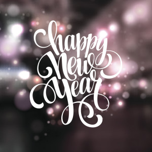 Happy New Year background with   lettering design