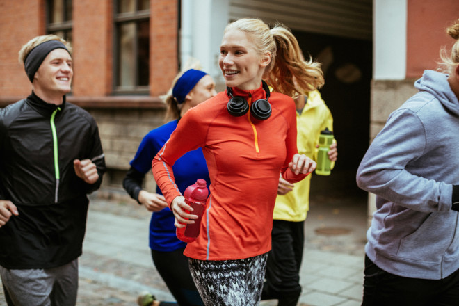 Group of friends jogging together