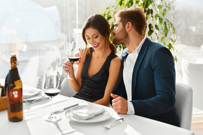 Couple In Love Having Romantic Dinner. Valentine's Day. Romance,