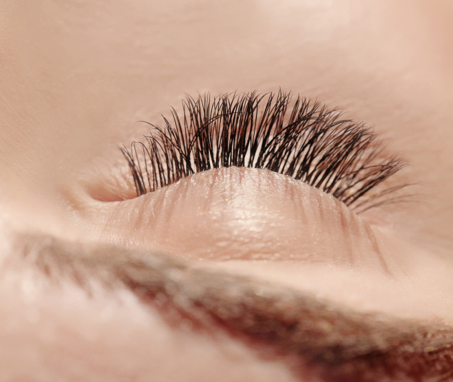 close up eye with false eyelashes
