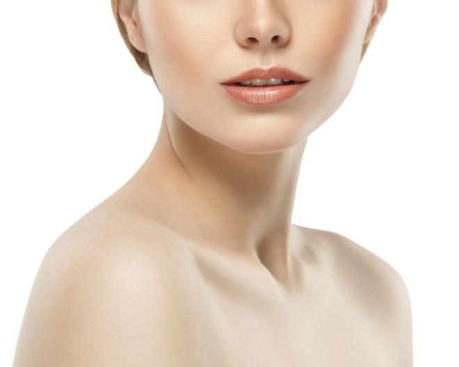 Woman neck shoulder lips nose chin cheeks