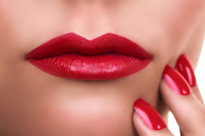 Woman Red Lipstick Manicure