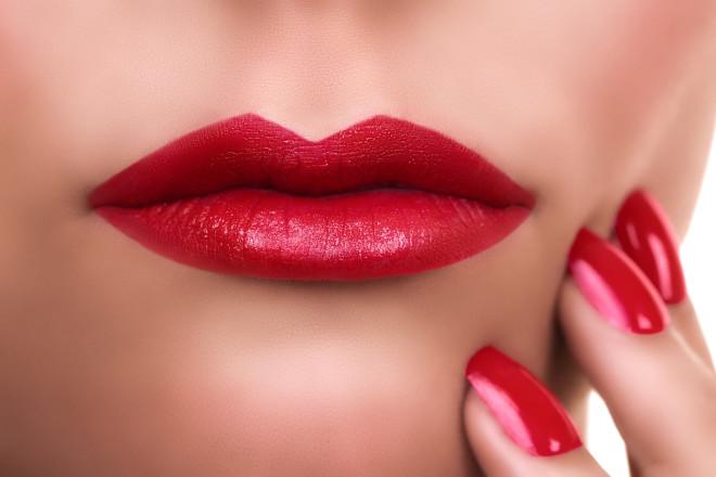 Woman Red Lipstick Manicure