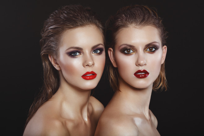 Two beautiful women with bright make-up