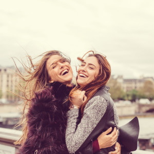 Happy girls enjoying Paris together