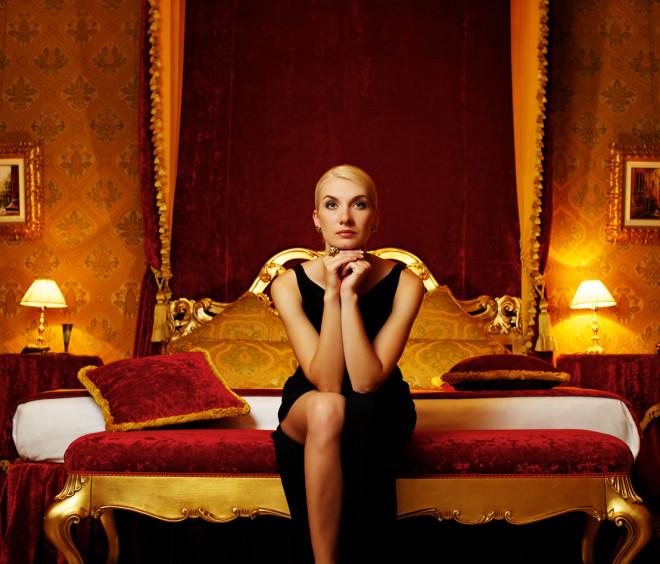 Beautiful woman in luxury interior.