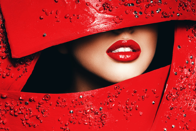 red woman lips in red frame