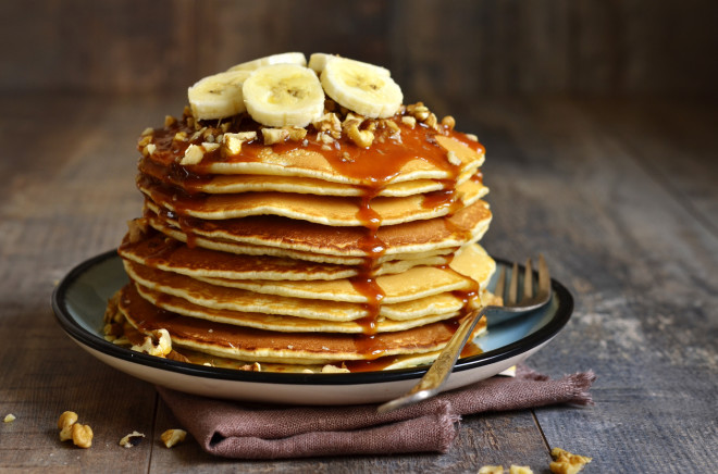 Pancakes with banana,walnut and caramel.