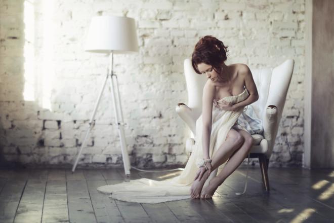 Beautiful sexy lady in elegant white dress