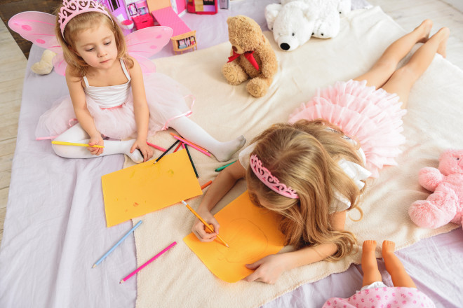 Pretty princess making images in bedroom