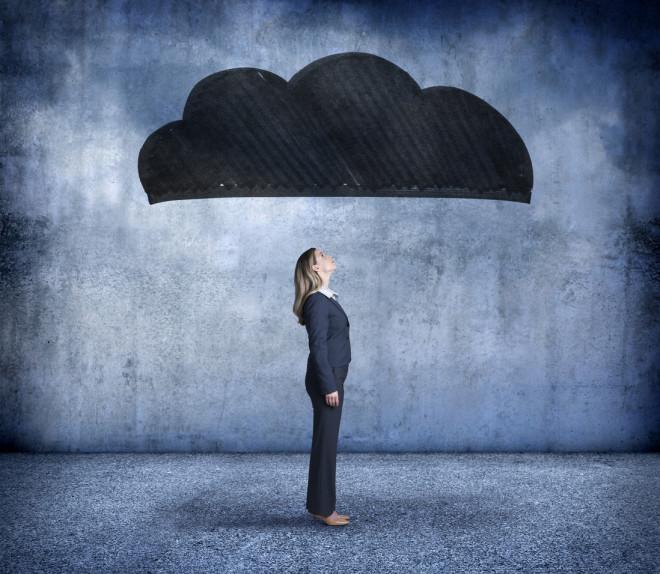 Businesswoman Under A Dark Cloud