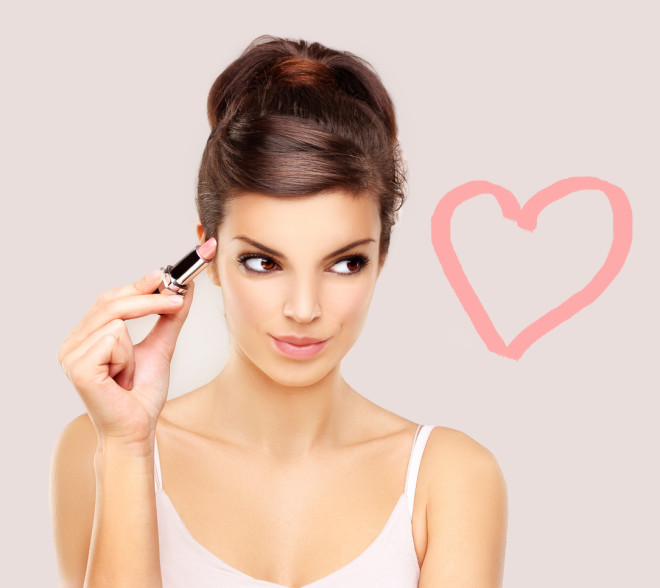 Woman Drawing Pink Lipstick Heart
