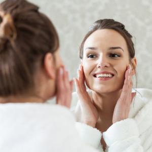 Woman after facial treatment