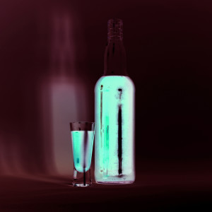 Phosphorescent glass and bottle