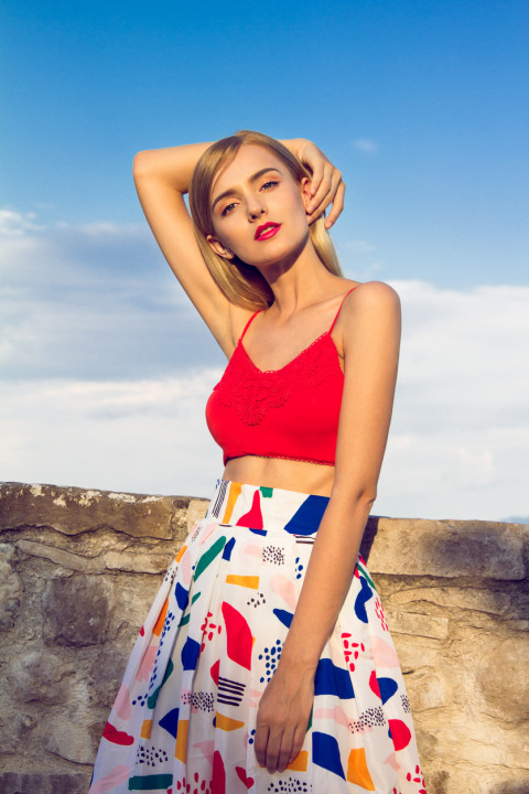 Woman with colorful skirt
