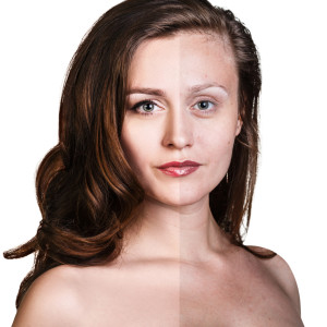 Comparative portrait of beautiful woman face