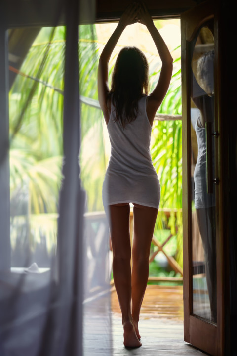 Good morning. Sexy woman silhouette