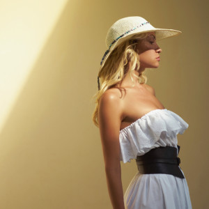 Pretty woman in straw hat