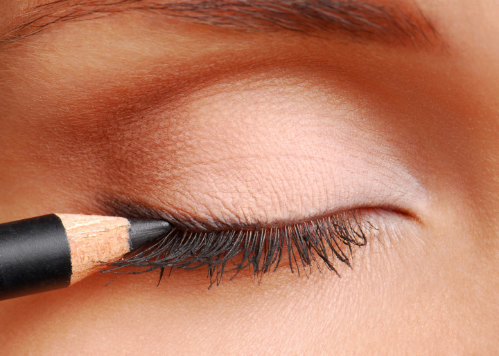 Black cosmetic pencil for eyes