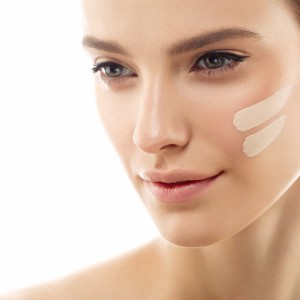 perfect-makeup-skin-tone-cream-lines-on-woman-face-picture-id624712276