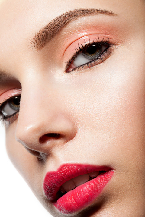 Spring makeup closeup with red lips
