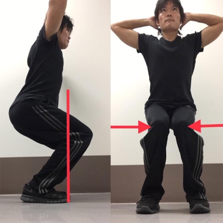膝がつま先よりも前に突き出てしまったり、内側や外側に入ってしまわないように