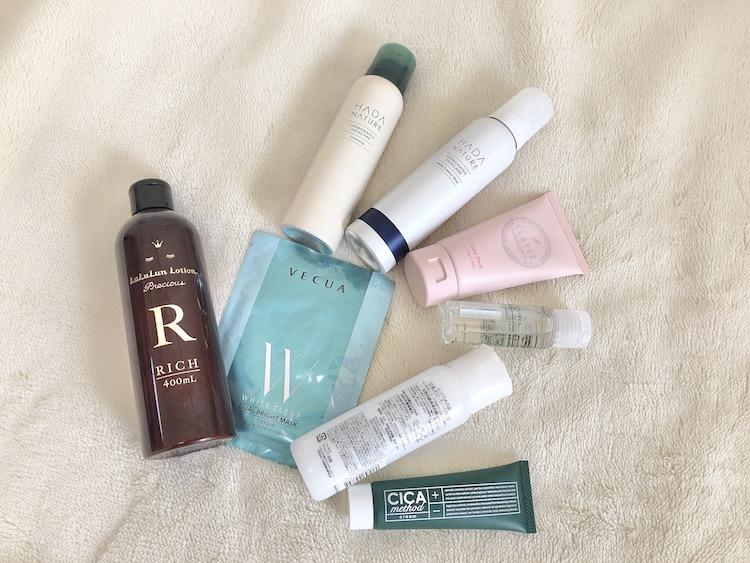 クレンジング、洗顔、クレイパック、マッサージオイル、化粧水、シートマスク、乳液、クリーム