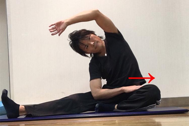 左(右)体幹側筋群への静的ストレッチ